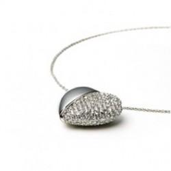 Diamant usb sølvhjerte