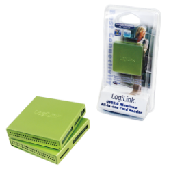 Logilink usb 2.0 cardreader all in one, alu, green