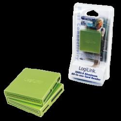 Logilink usb 2.0 cardreader all in one, alu, green