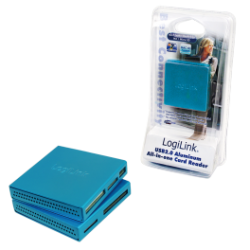 Logilink usb 2.0 cardreader all in one, alu, blue