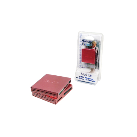 Logilink usb 2.0 cardreader all in one, alu, pink