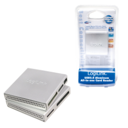 Logilink usb 2.0 cardreader all in one, alu, silver