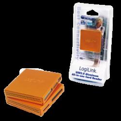 Logilink usb 2.0 cardreader all in one, alu, orange