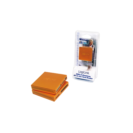 Logilink usb 2.0 cardreader all in one, alu, orange
