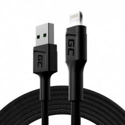 Kabel Przewód Green Cell GC Ray USB - Lightning 200cm z białym podświetleniem LED, szybkie ładowanie Apple 2.4A