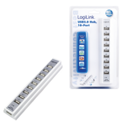 Logilink 10-port usb 2.0 hub incl. 3.5a ps, white