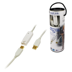 Logilink usb 2.0 repeater cable 12 m, white
