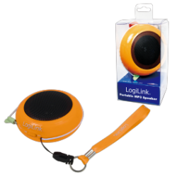 Logilink portable lithium ion battery powered speakers orange