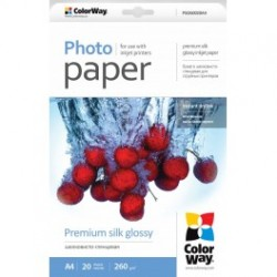 Fotopapir colorway præmie silke blankt 260 g / m², a4, 20 ark (psi260020a4)