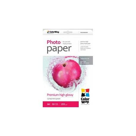 Fotopapir colorway præmie høj blankt 255 g / m², a4, 50 ark (psg255050a4)