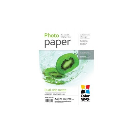 Fotopapir colorway dual-side mat 220 g / m², a4, 20 ark (pmd220020a4)