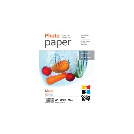 Fotopapir colorway mat 190 g / m², a4, 50 ark (pm190050a4)