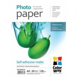 Fotopapir colorway mat selvklæbende 120 g / m², a4, 20 ark (pms1208020a4)