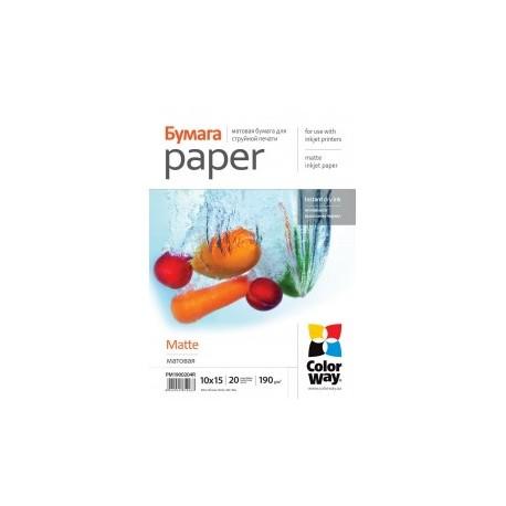 Fotopapir colorway mat 190 g / m², 10х15, 20 ark (pm1900204r)