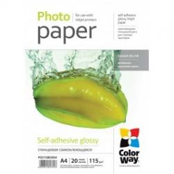 Fotopapir colorway blankt selvklæbende 115g / m², a4, 20 stk. (pgs1158020a4)