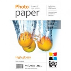 Fotopapir colorway høj blankt 260 g / m², a4, 20 ark (pg260020a4)
