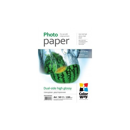 Fotopapir colorway dual-side høj glans 220 g / m², a4, 50 ark (pgd220050a4)