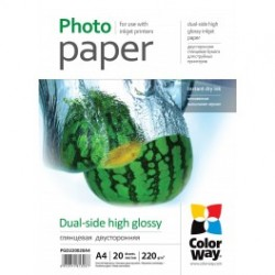 Fotopapir colorway dual-side høj glans 220 g / m², a4, 20 ark (pgd220020a4)