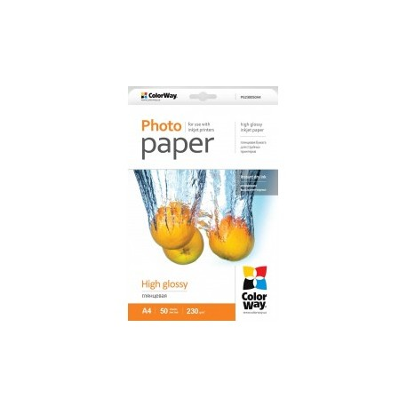 Fotopapir colorway høj blankt 230 g / m², a4, 50 ark (pg230050a4)