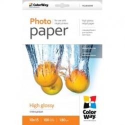 Fotopapir colorway høj blankt 180 g / m², 10х15, 100 ark (pg1801004r)