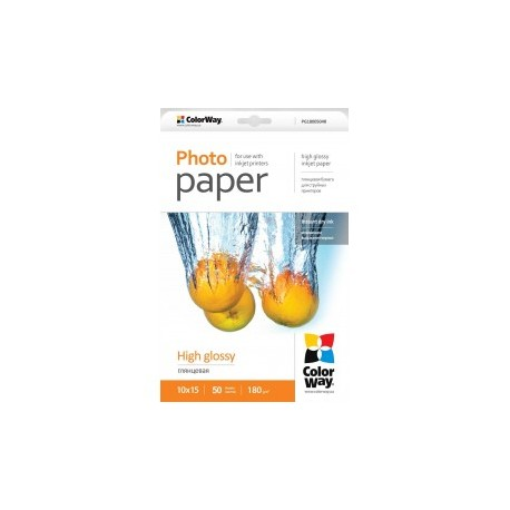Fotopapir colorway høj blankt 180 g / m², 10х15, 50 ark (pg1800504r)