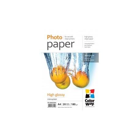 Fotopapir colorway høj blankt 180 g / m², a4, 20 ark (pg180020a4)
