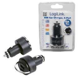 Logilink usb car charger 2-port 3000ma 2100+900 usb
