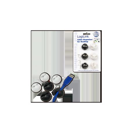 Logilink kabel holder, 6 stk pakning sort/ hvid