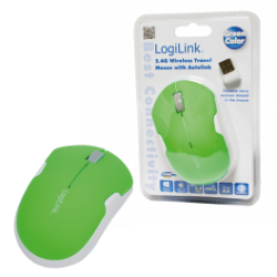 Logilink mouse, wireless 2,4g, optical green