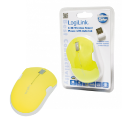 Logilink mouse, wireless 2,4g, optical yellow
