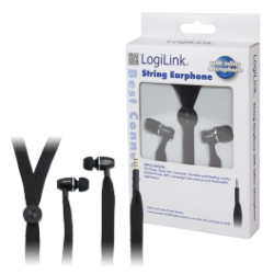 Logilink stereo in-ear headset string, sort