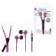 Logilink stero in-ear phones m/ mic - pink neon